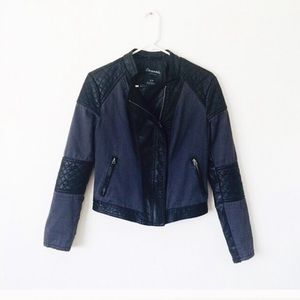 Blue and black faux leather moto jacket sm